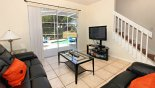 Villa rentals in Orlando, check out the Family room with large LCD TV with DVD