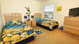 Twin bedroom 4 with Minions theming and LCD TV - www.iwantavilla.com is your first choice of Villa rentals in Orlando direct with owner