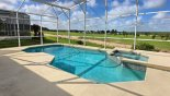 Pool deck overlooing the 5th fairway on the golf course from Canterbury 6 Villa for rent in Orlando