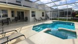Villa rentals in Orlando, check out the View over spa towards covered lanai with patio table & 6 chairs