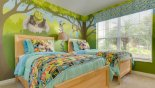 Ground floor Shrek themed twin bedroom 5 with views onto front gardens - www.iwantavilla.com is your first choice of Villa rentals in Orlando direct with owner
