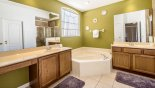 Emerald + 10 Villa rental near Disney with Master #1 ensuite bathroom with Roman bath, walk-in shower, dual vanities & separate WC
