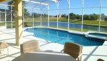 Villa rentals near Disney direct with owner, check out the View of pool & lake beyond from shady lanai
