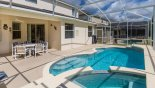 Villa rentals in Orlando, check out the Covered lanai with patio table, 6 chairs & ceiling fan