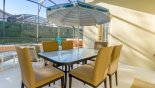 Covered lanai with patio table, 6 chairs with this Orlando Villa for rent direct from owner