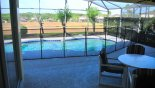 View of pool from covered lanai with this Orlando Villa for rent direct from owner