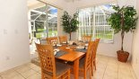 Dining area adjacent to kitchen seating 6 persons with views onto pool deck with this Orlando Villa for rent direct from owner