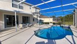 Pool and covered lanai with seating for 6 from Santa Barbara 8 Villa for rent in Orlando