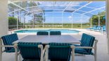 Villa rentals in Orlando, check out the View out from covered lanai onto pool and golf course beyond