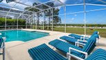 Large extended pool deck with 4 sun loungers - gets the sun all day from Highlands Reserve rental Villa direct from owner