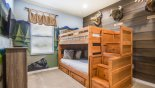 Villa rentals near Disney direct with owner, check out the Bunk bedroom 7 with full-size bunk beds & wall mounted LCD TV
