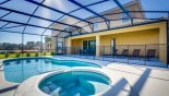 Spacious rental Solterra Resort Villa in Orlando complete with stunning View of pool & spa towards covered lanai