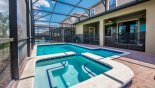 View of pool & spa towards covered lanai from Fiji 3 Villa for rent in Orlando