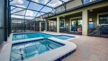 Spacious rental Champions Gate Villa in Orlando complete with stunning View of pool & spa towards covered lanai