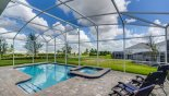 Large sunny east facing pool deck with pool & spa from Maui 3 Villa for rent in Orlando