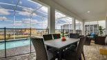 Alfresco dining for 6 by the pool side under the covered lanai from Champions Gate rental Villa direct from owner