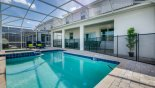 Pool deck showing erected pool safety fence from Cayman 1 Villa for rent in Orlando