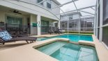 Majesty Palm 7 Villa rental near Disney with View of pool & spa towards covered lanai - pool safety fence erected