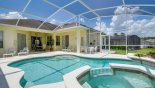 View of pool & spa towards covered lanai showing 2 patio tables & 8 chairs with this Orlando Villa for rent direct from owner