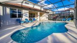Pool viewed towards covered lanai with this Orlando Villa for rent direct from owner