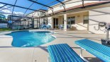 Pool deck with 4 sun loungers from Windwood Bay rental Villa direct from owner