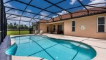 Spacious rental Solterra Resort Villa in Orlando complete with stunning View of pool towards covered lanai
