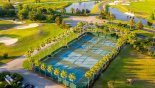 Aerial view of the community tennis courts - www.iwantavilla.com is the best in Orlando vacation Villa rentals