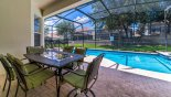Villa rentals near Disney direct with owner, check out the Covered lanai with patio table & 6 chairs
