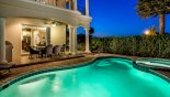 Villa rentals in Orlando, check out the View of lanai at twilight