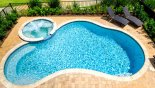 Villa rentals near Disney direct with owner, check out the View of 25' x 12' pool & spa from upstairs balcony