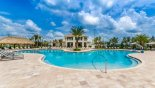 Large swimming pool with sun loungers and tiki bar with this Orlando Condo for rent direct from owner