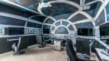 Villa rentals near Disney direct with owner, check out the Star Wars Millennium Falcon cockpit gaming room with 4 individual gaming screens