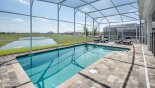 Private east facing pool with spacious pool deck from Champions Gate rental Villa direct from owner