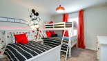 Mickey Mouse themed bedroom 4 with twin over full-size bunk and separate twin - www.iwantavilla.com is the best in Orlando vacation Townhouse rentals