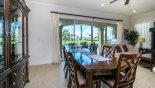 Dining area viewed towards pool area with this Orlando Villa for rent direct from owner