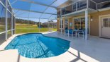 Villa rentals in Orlando, check out the Pool deck with covered lanai offering welcome shade