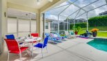 Villa rentals in Orlando, check out the View from lanai towards sun loungers