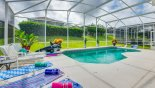 Sunny east facing pool deck with this Orlando Villa for rent direct from owner