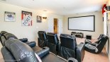 Villa rentals in Orlando, check out the Home cinema with ceiling mounted projector, surround sound & PS4 games console