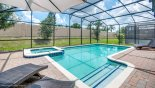 Spacious south facing pool deck with raised spa - www.iwantavilla.com is the best in Orlando vacation Villa rentals