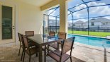 The shady lanai is the perfect place for alfresco dining from Cancun 1 Villa for rent in Orlando
