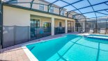 Toddler safety screen separating pool and lanai for your peace of mind with this Orlando Villa for rent direct from owner