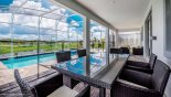 Orlando Villa for rent direct from owner, check out the Glass topped rattan dining table with seating for 6 people overlooking pool deck