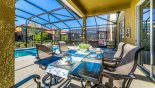 Villa rentals in Orlando, check out the Covered lanai with patio table & 6 chairs