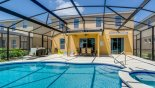 Villa rentals in Orlando, check out the View of pool towards covered lanai - note gas BBQ