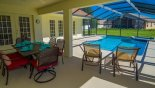 Orlando Villa for rent direct from owner, check out the Covered lanai with patio table & 6 chairs plus 2 sun loungers