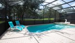 Villa rentals near Disney direct with owner, check out the View of south facing pool & spa with 2 sun loungers