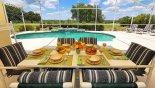 Spacious rental Highlands Reserve Villa in Orlando complete with stunning Alfresco breakfast under covered lanai