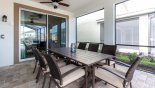 Covered lanai with patio table & 8 chairs - www.iwantavilla.com is the best in Orlando vacation Villa rentals