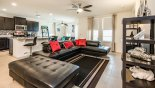 Spacious rental The Dales at West Haven Villa in Orlando complete with stunning Family room viewed towards kitchen & study/den